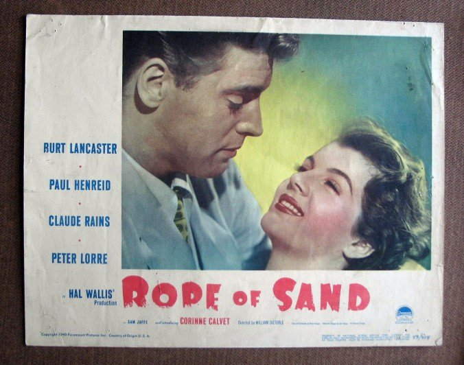 BY43 Rope Of Sand BURT LANCASTER 1949 Original PORTRAIT Lobby Card