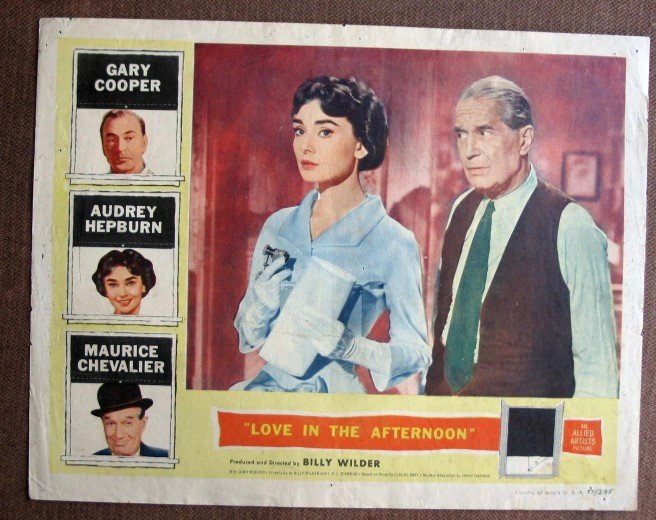BZ24 Love In Afternoon AUDREY HEPBURN 1957 Lobby Card