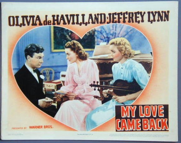 MY LOVE CAME BACK Olivia de Havilland original '40 Lobby Card