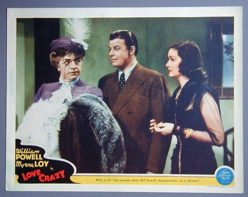 LOVE CRAZY William Powell/Myrna Loy original '41 lobby card
