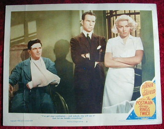 AJ36 POSTMAN ALWAYS RINGS TWICE Turner/Garfield '46 lobby card