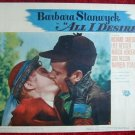 AN01 ALL IS DESIRE Barbara Stanwyck c/u orig '53 LC