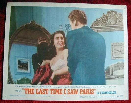 AJ30 LAST TIME I SAW PARIS Elizabeth Taylor original  '54 lobby card