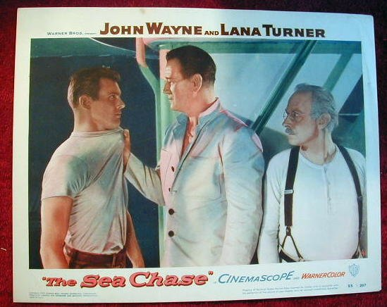 AP39 SEA CHASE John Wayne original 1955 lobby card