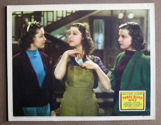DK45 3 Blind Mice LORETTA YOUNG Orig 1938 Lobby Card