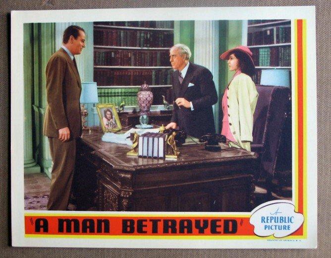 DK31 A MAN BETRAYED John Wayne MINT orig '41 lobby card