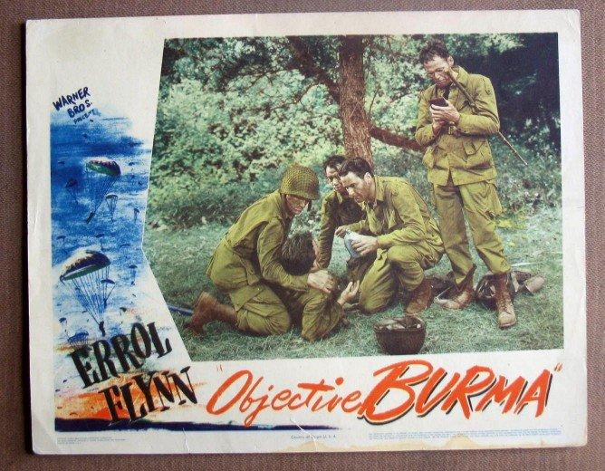 DK38 Objective Burma ERROL FLYNN Orig 1945 Lobby Card
