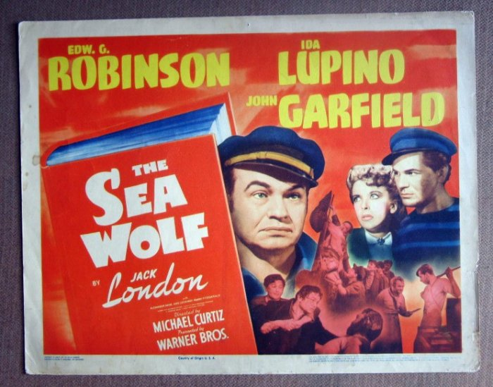DL42 Sea WOlf JOHN GARFIELD/IDA LUPINO Title Lobby Card