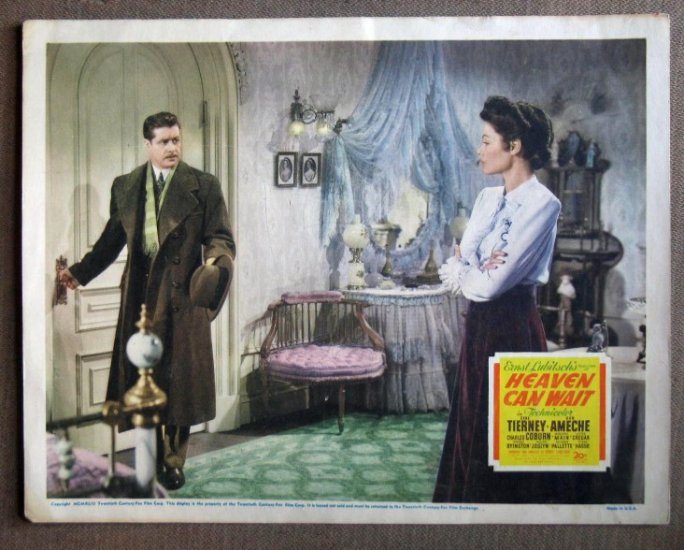DP19 Heaven Can Wait GENE TIERNEY/DON AMECHE Lobby Card