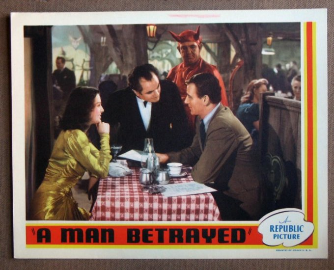 DP29 Man Betrayed JOHN WAYNE mint orig  '41 Lobby Card