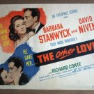 DZ30 Other Love BARBARA STANWYCK/NIVEN Title Lobby Card