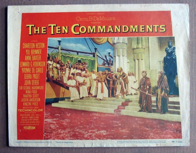 DK43 10 Commandments CHARLTON HESTON/BRYNNER Lobby Card