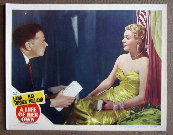 DS23 Life Of Her Own LANA TURNER Orig 1950 Lobby Card