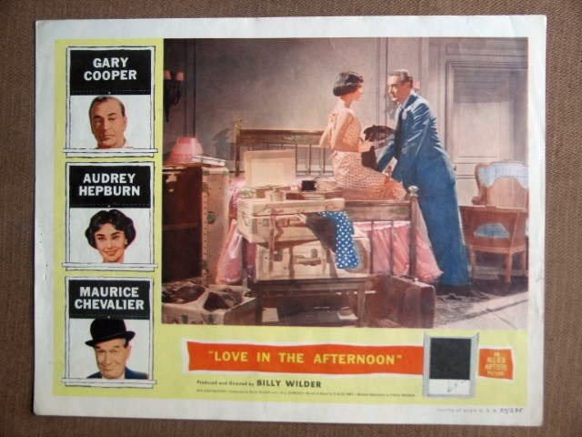 DW28 Love In Afternoon AUDREY HEPBURN/COOPER Lobby Card