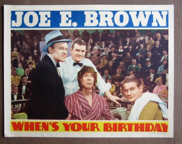 CT45 When's Your Birthday JOE E BROWN 1937 Lobby Card