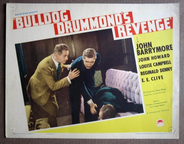CV07 Bulldog Drummonds Revenge BARRYMORE '37 Lobby Card
