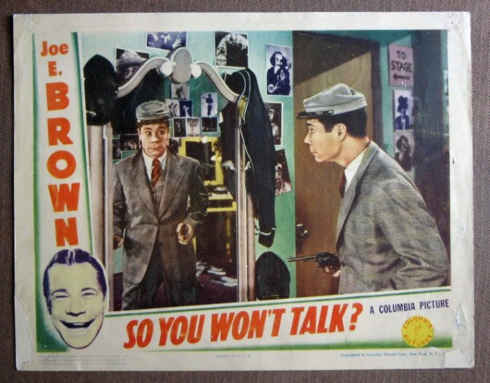 CV37 So You Won't Talk JOE E. BROWN 1940 Lobby Card