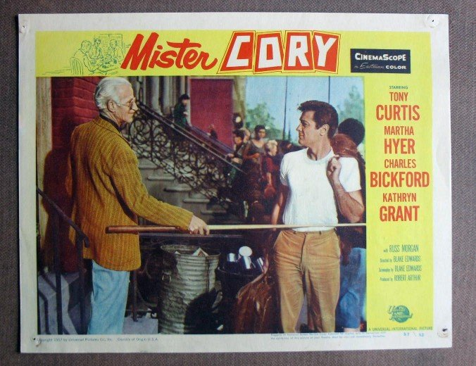 CW23 Mister Cory TONY CURTIS Original 1957 Lobby Card