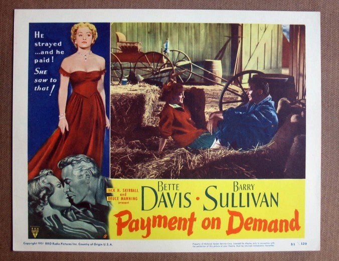 CW26 Payment On Demand BETTE DAVIS/SULLIVAN Lobby Card
