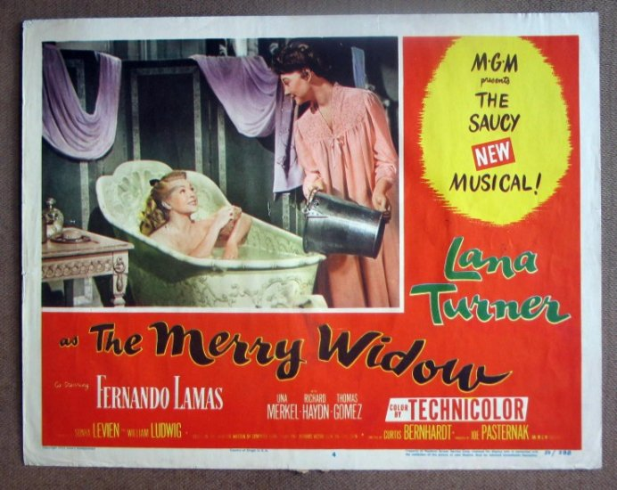 DG20 Merry Widow LANA TURNER in bathtub '52 Lobby Card