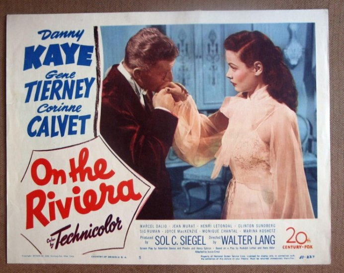 DG26 On The Riviera GENE TIERNEY/DANNY KAYE orig '51 LC