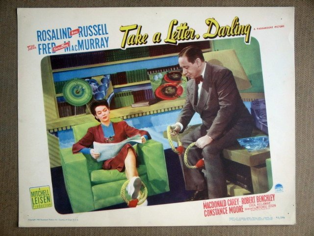EF37 Take A Letter ROSALIND RUSSELL 1942 Lobby Card