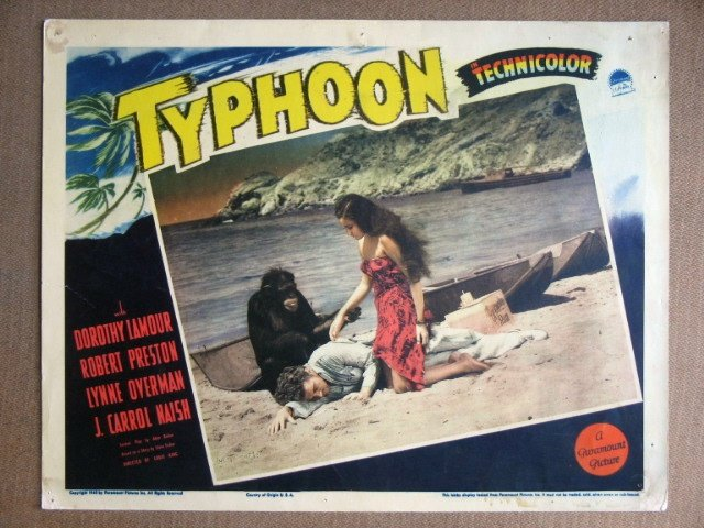 EG44 Typhoon DOROTHY LAMOUR/ROBERT PRESTON Lobby Card