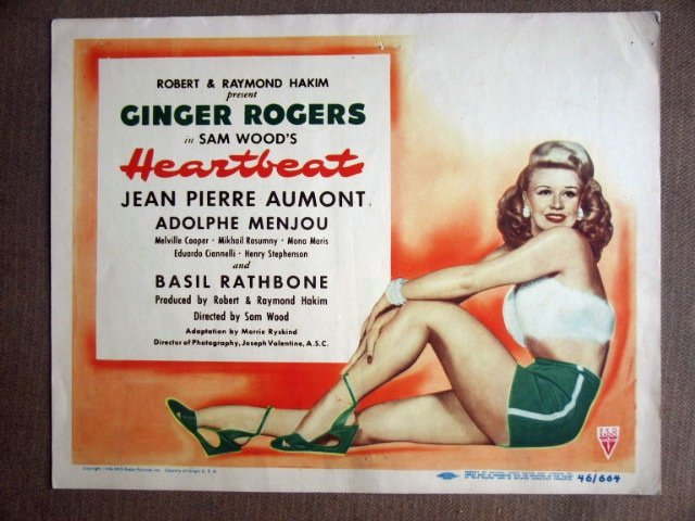 EH21 Heartbeat GINGER ROGERS 1946 Title Lobby Card