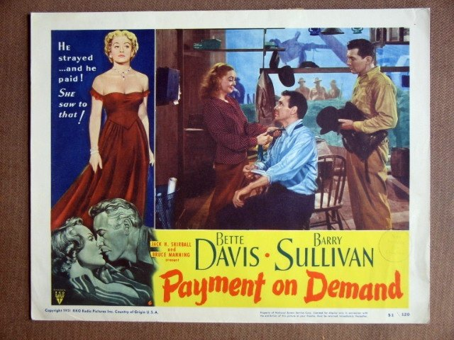 EH34 Payment On Demand BETTE DAVIS 1951 Lobby Card