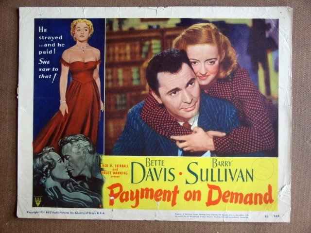 EI23 Payment On Demand BETTE DAVIS Portrait Lobby Card