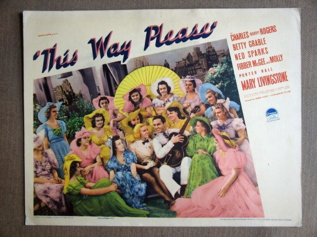 EI42 This Way Pls BETTY GRABLE/BUDDY ROGERS Lobby Card