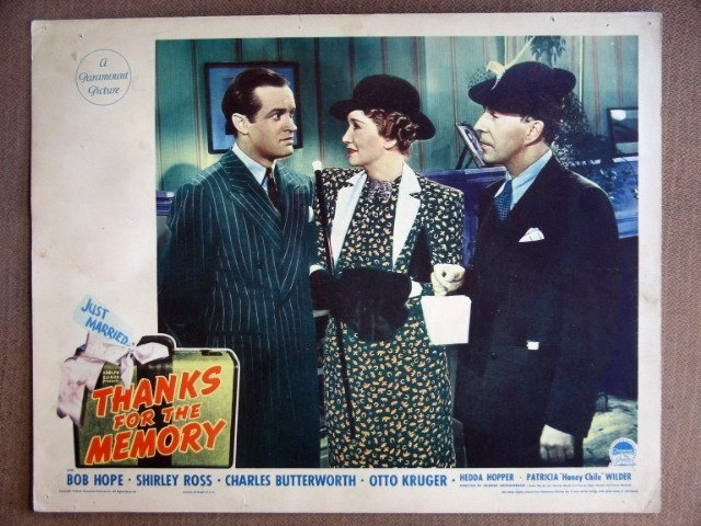 EJ51 Thanks for Memory BOB HOPE/HEDDA HOPPER Lobby Card