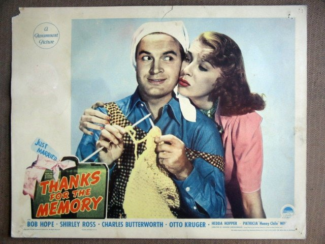 EK42 Thanks For Memory BOB HOPE/SHIRLEY ROSS Lobby Card