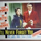 EW24 I'll Never Forget TYRONE POWER/A BLYTH Lobby Card