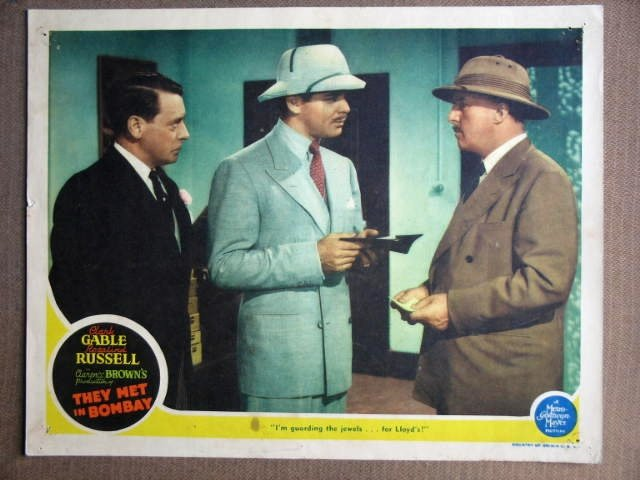 EW43 They Met In Bombay CLARK GABLE 1941 Lobby Card