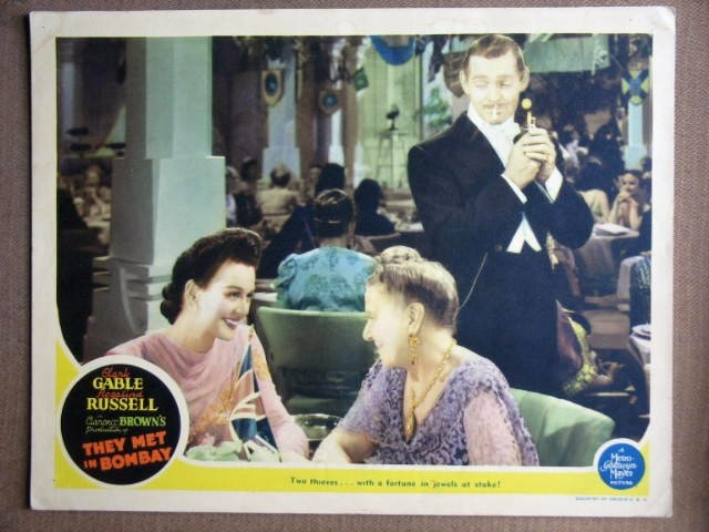 EX46 They Met In Bombay CLARK GABLE/RUSSELL Lobby Card