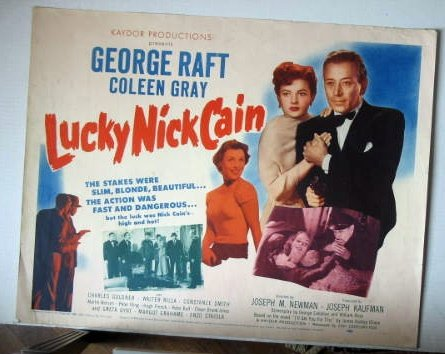 FF05 Lucky Nick Cain GEORGE RAFT 1951 Half Sheet Poster