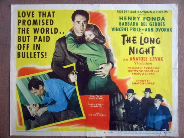 GI25 Long Night HENRY FONDA/BEL GEDDES Title Lobby Card