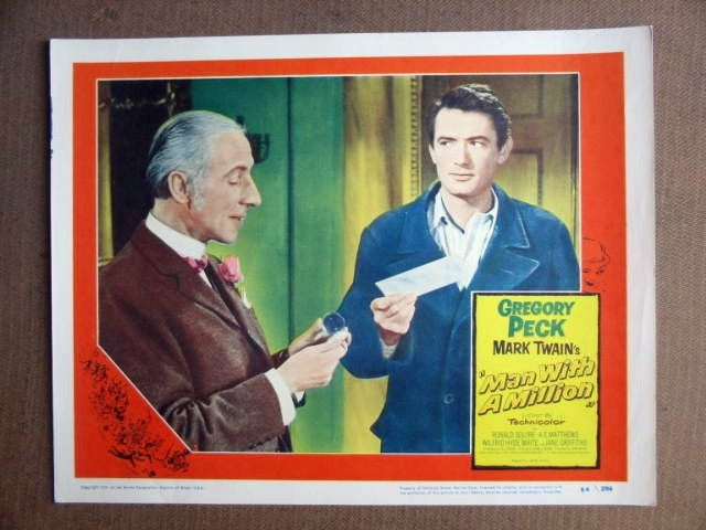 FU32 Man With A Million GREGORY PECK 1954 Lobby Card
