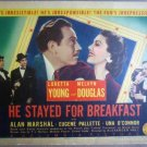 GU17 He Stayed Breakfast LORETTA YOUNG Title Lobby Card