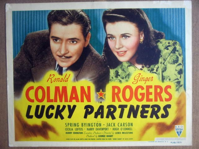 HI14 Lucky Partners GINGER ROGERS Title Lobby Card