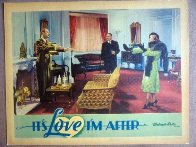 HJ14 It's Love I'm After BETTE DAVIS 1937 Lobby Card