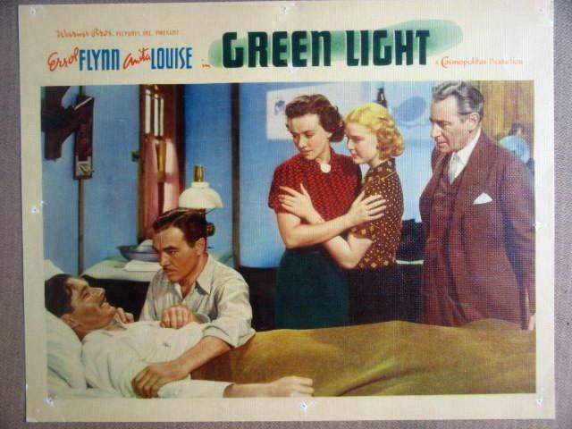 HK05 Green Light ERROL FLYNN Original 1937 Lobby Card