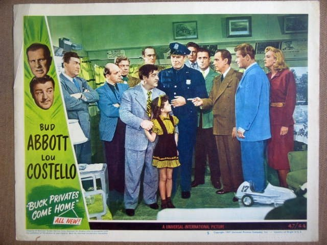 HE03 Buck Pvts Come Home ABBOTT & COSTELLO Lobby Card