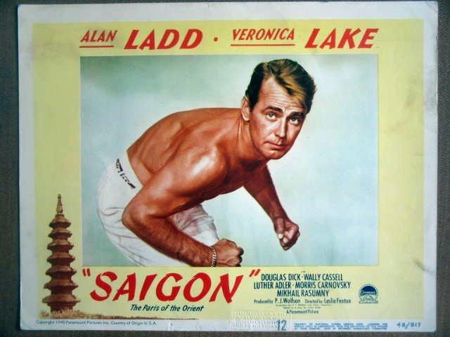 HF26 Saigon ALAN LADD (beefcake) PORTRAIT Lobby Card
