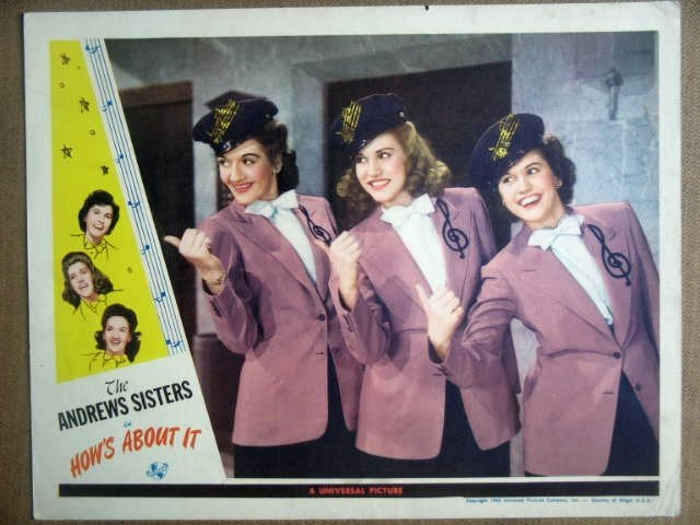 HJ10 How's About It ANDREWS SISTERS 1943 Lobby Card