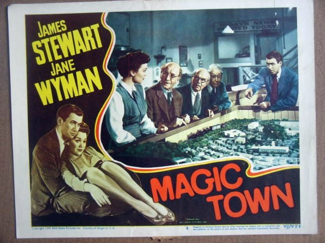 HG14 Magic Town JAMES STEWART/JANE WYMAN Lobby Card