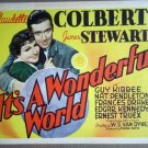 HT10 It's A Wonderful JAMES STEWART/CLAUDETTE COLBERT TITLE Lobby Card