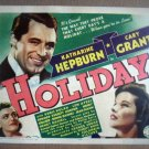 IA08 Holiday CARY GRANT/KATHARINE HEPBURN Original 1938 Title Lobby Card