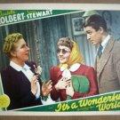 IA09 It's A Wonderful World CLAUDETTE COLBERT/JAMES STEWART 1939 Lobby Card